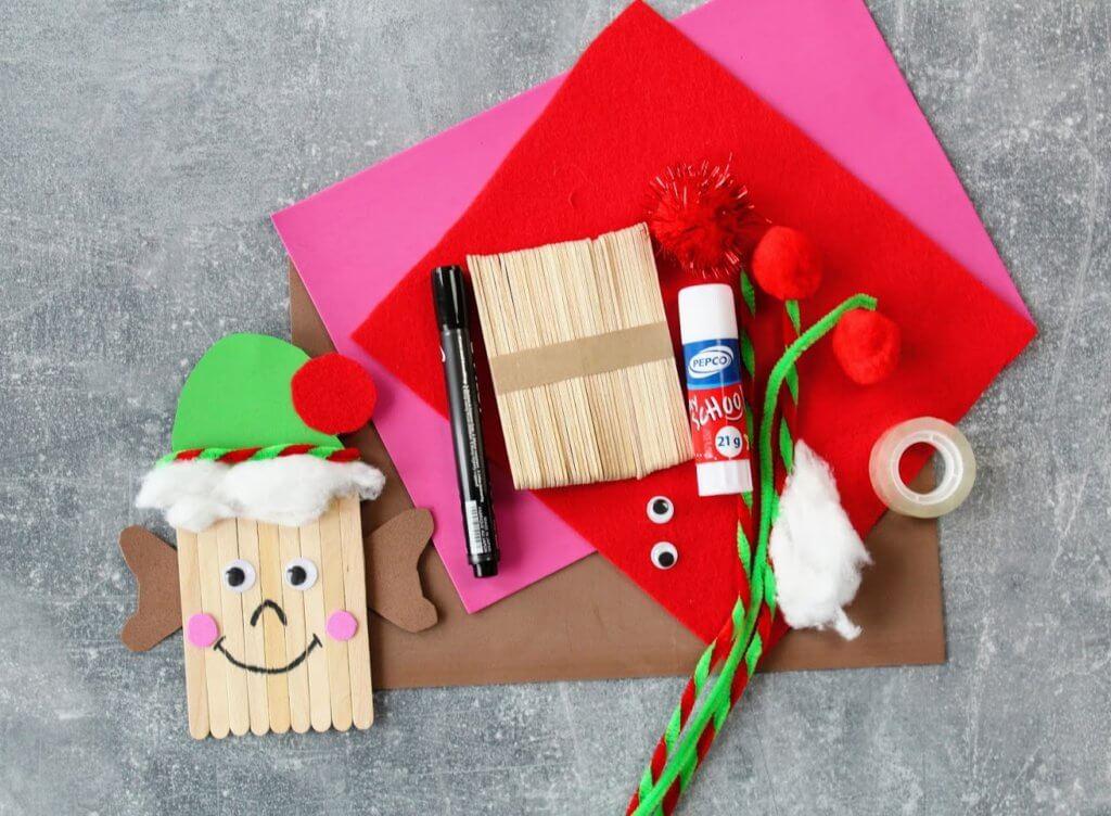 Ozdoby z patyczków na Boże Narodzenie - elf