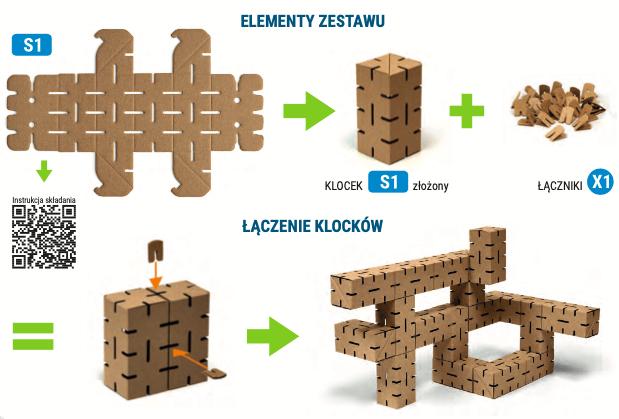 klocki konstrukcyjne z kartonu