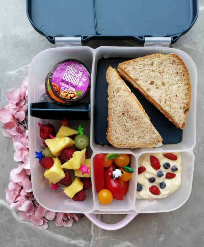 wielokomorowy lunchbox do szkoły, szczelny bbox